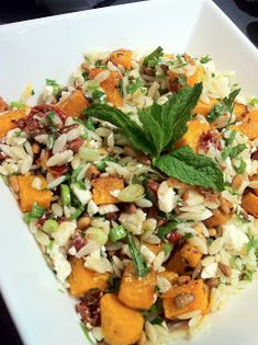 Maude and Betty: Roasted pumpkin and feta risoni salad - Donna Hay Healthy Salad Recipes, Vegetarian Recipes, Cooking Recipes, Cooking Ideas, Vegetarian Xmas, Rice Recipes, Yummy Recipes, Yummy Food, Salad Dishes