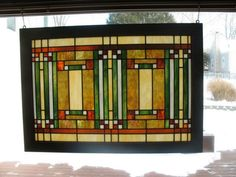 Prairie Craftsman Style Stained Glass to hang in transom windows over buildt in bookcases - eventually