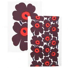 Marimekko's Pieni Unikko tea towel, 2 pcs, white-red