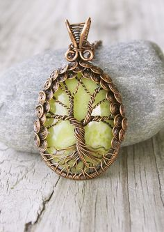 Copper Tree of Life Necklace with a Pineapple Jasper Cabochon | Online auction for Ekubo Children's Home in Uganda!!!