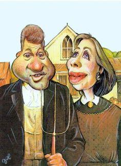 Cartoon: American gothic (medium) by bekesijoe   --   Hillary and Bill Clinton