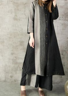 Leisure single breasted cotton and linen long shirt long gown black womens shirt… Leisure single breasted cotton and linen long shirt long gown black womens shirts Women's Dresses, Linen Dresses, Casual Dresses, Couture Fashion, Hijab Fashion, Fashion Dresses, Bespoke Clothing, Kurta Designs, Mode Hijab