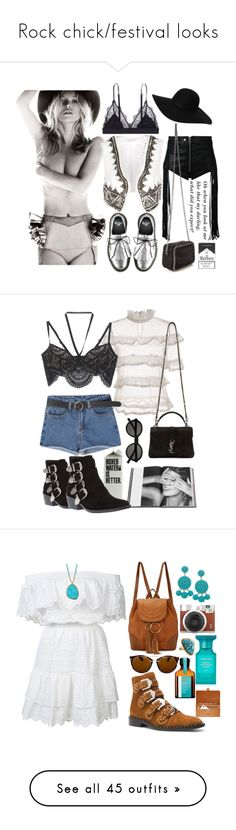 """""""Rock chick/festival looks"""" by xmoonagedaydreamx ❤ liked on Polyvore featuring Pierre Balmain, Monki, Kiltie, LoveStories, Diesel, STELLA McCARTNEY, Toga, For Love & Lemons, Yves Saint Laurent and Rizzoli Publishing"""