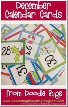 December Calendar Cards {free download} www.doodlebugsteaching.blogspot.com