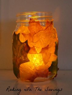 Dollar Store Fall Foliage Mason Jar Luminary