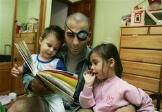 """Walt Gaya reads """"Oh Say, Can You Say?"""" to his children Corina, 4, right, and Julian, 2, at bedtime at their home in Olympia, Wash., Sept. 20, 2005. Walt Gaya, an Army sniper who recently returned from a 10-month tour of duty in Iraq where he suffered an eye injury. C Ops, Iraq War, American Pride, Olympia, Bedtime, Army, Journey, Military, Eye"""