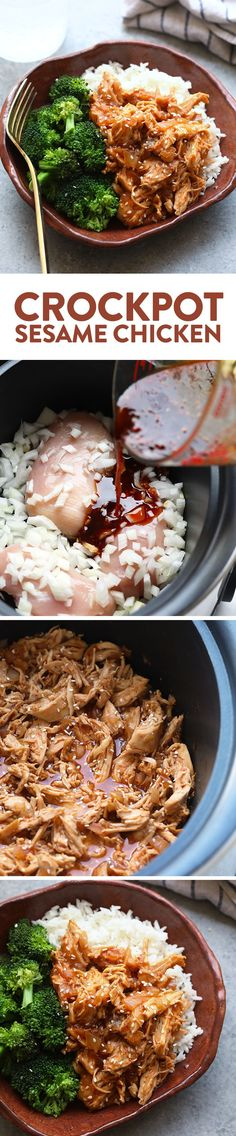 Throw all of the ingredients for this Healthy Crockpot Sesame Chicken recipe into your slow cooker and have dinner ready in no time. This healthy crockpot chicken recipe is kid-friendly, gluten-free friendly, and an excellent meal prep chicken recipe. Crockpot Chicken Healthy, Chicken Meal Prep, Healthy Crockpot Recipes, Slow Cooker Recipes, Cooking Recipes, Recipe Chicken, Crockpot Meals, Healthy Meals, Dinner Crockpot