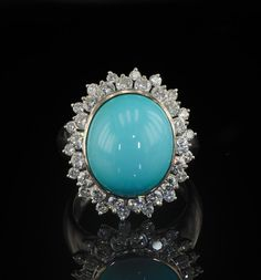 Persian turquoise and diamond vintage ring.