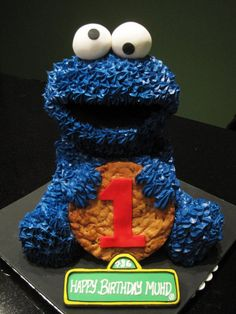 Cookie Monster Cake with real giant cookie