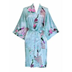 Kimono Short Robe - Peacock and Blossoms (aqua)