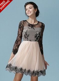 Peach Long Sleeve Dress With Lace Panel www.ustrendy.com #UsTrendy