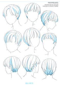 Drawing Hair Tutorial, Manga Drawing Tutorials, Pelo Anime, Hair Sketch, Art Drawings Sketches Simple, Digital Art Tutorial, Cartoon Art Styles, Drawing Reference Poses, Drawing Base