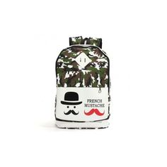 Women Casual Canvas Camouflage Mustache Backpack ($12) ❤ liked on Polyvore featuring bags, backpacks, army green, camo backpack, canvas daypack, white camo backpack, army green canvas backpack and white backpack