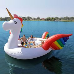 Party Bird Floating Island from Sun Pleasure, no day on the lake is complete without resting by the gentle tail feathers of a towering inflatable peacock. If you fancy yourself as more of a mythical creature kind of gal or guy, there's a giant inflatable unicorn for that. Be sure to check out the giant inflatable flamingo