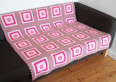 Pink Throw Blanket Pink Granny Square Blanket by PhoenixSmiles