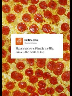 Ed Sheeran Has Discovered Life's Truth…so true. Ed Sheeran, Mama Rosa Pizza, Pizza Steve, Bae, Circle Of Life, How To Squeeze Lemons, Man Humor, Laugh Out Loud, The Funny
