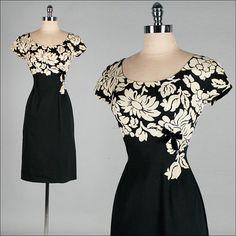Vintage 1950s Dress  Black  Ivory  Floral by millstreetvintage, $235.00