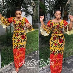 The complete pictures of latest ankara long gown styles of 2018 you've been searching for. These long ankara gown styles of 2018 are beautiful African Maxi Dresses, Ankara Dress, African Attire, African Outfits, Ankara Fabric, African Fashion Designers, African Print Fashion, Africa Fashion, African Prints