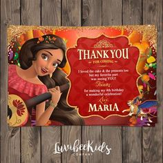 Elena of Avalor Thank You Card | Free with Invitations purchase