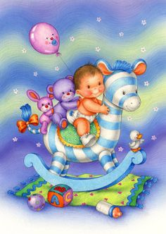 Baby boy on rocking horse Baby Art, Baby Clip Art, Cute Kids, Cute Babies, Baby Gifts, Boy Images, Baby Album, Kinder Lied, Baby Christening