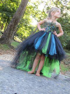 Peacock Costume, Feather dress, Flower girl feather Tutu Dress, Peacock dress