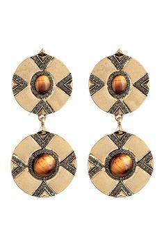Dorelia Double Coin Tiger Eye Dangle Earrings