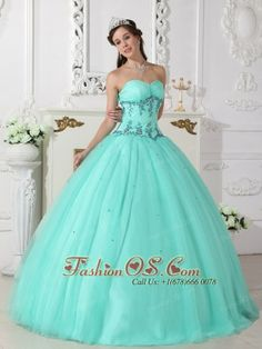 Modern Turquoise Quinceanera Dress Sweetheart Tulle and Taffeta Beading Ball Gown  http://www.fashionos.com