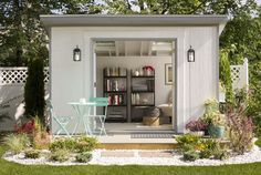 Considering a garden shed? Then before you embark on your project make sure you have a reliable shed plan for the design you have in mind. Building your own shed can without doubt cut costs but Backyard Studio, Backyard Sheds, Backyard Retreat, Outdoor Sheds, Outdoor Rooms, Backyard Storage, Large Backyard, Lowes Garden Sheds, Outdoor Office