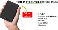 Disco Duro Externo 1TB USB 3.0  http://www.appinformatica.com/discos-duros-externos-toshiba-hdd-ext.-2.5-1tb-usb3.0-store-basics.php