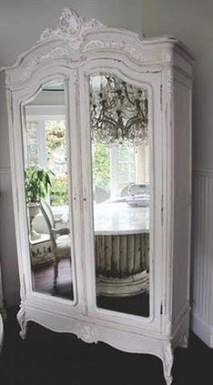 Antique French Armoire with Roses c1920