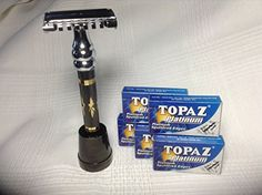 Holiday Gift Special Incuded with Premium Butterfly Razor WITH OPEN COMB HEAD OFFERING A SMOOTH SILKEN SHAVE Matching Razor Stand 50 Topaz Platinum Razor Blades and Free Shipping You Save 2269 * Check out this great product.