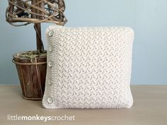Crochet Buttoned Throw Pillow | AllFreeCrochet.com