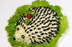 How to make salad hedgehog - recipe, ingredients and photos Hedgehog Recipe, Party Food Buffet, Edible Centerpieces, Savory Salads, Tasty, Yummy Food, How To Make Salad, Party Snacks, Creative Food
