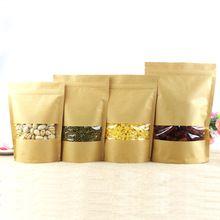 Zip lock Kraft Saco De Papel Janela Stand up Dom secas chá de frutas alimentos embalagem Sacos de Vedação Malotes Com Zíper Sel Frete grátis(China (Mainland))