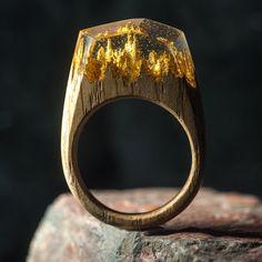 Resin Wood Ring, Epoxy Resin, Gold Leaf, Wood Resin Jewelry, Wooden Ring, Wood and Resin, Wood Jewelry, Handmade Jewelry