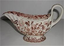 W. T. Copeland & Sons Aesthetic Period Brown Transferware Gravy Boat Fluted Stoke Upon Trent Old