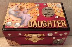 "Little Daughter Box --SOLD Size: 3""x 2""x2""  Hinged with front latch, Wooden  #404W322(16)  Handcrafted https://www.facebook.com/designby.Cas"