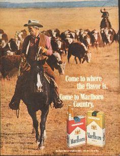 1969 Marlboro Country Man-Cattle Drive-Horse Back-Smoke Advertising Archives, Retro Advertising, Vintage Advertisements, Vintage Ads, Vintage Prints, Malboro, Marlboro Red, Marlboro Cigarette, Cattle Drive