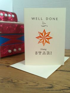 Well Done You, congratulations letterpress card, by The Smallprint Company on Folksy, £2.50