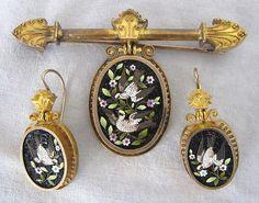 Victorian Gold Micro Mosaic Brooch & Earring Set