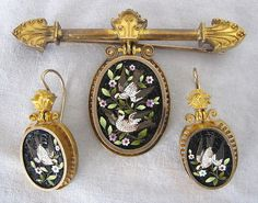 Victorian Gold Micro Mosaic Brooch & Earring Set