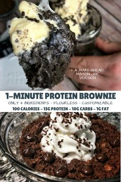 Desserts You'll love this ooey-gooey microwaveable chocolate protein brownie that's ready in one minute and packs 13 grams of protein into 100 calories. Healthy Protein Snacks, Healthy Sweets, Healthy Baking, Protein Foods, Healthy Lunches, Casein Protein, Healthy Man, Protein Powder Recipes, High Protein Recipes