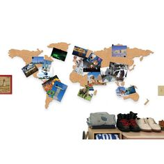 Corkboard Map is the perfect way to display photos, postcards, tickets or any travel memories by pinning on the cork map or the world. Cork Board Map, Cork Map, Cork Boards, Pin Boards, Holiday Gift Guide, Holiday Gifts, Wall Maps, Photos Voyages, Travel Memories