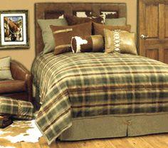 cute pillow ideas Rustler Western Bedding By Quality Bedding Sets Plaid Bedding, Teen Bedding, Bedding Sets, Western Bedding, Rustic Bedding, Green Comforter, King Comforter, Bed N Bath, Wood River
