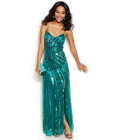 Jump Juniors' Sequin High-Slit Gown - Juniors Shop All Prom Dresses - Macy's