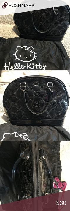 Hello Kitty Patent Leather Black Embossed Bag Hello Kitty Patent Leather Black Embossed Bag - like new, barely used - few white scuffs on bottom edges of the bag  - dust bag included Hello Kitty Bags Totes