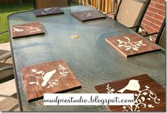 stenciled bird chargers (use a cricut with contact paper)