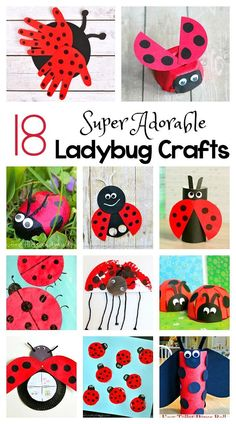18 Adorable Ladybug Crafts for Kids including ladybugs made from egg cartons, toilet paper rolls, cupcake liners, paper plates and more! Perfect for an insect, gardening, or bug unit or for spring and summer!