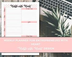 Weekly Planner Printable, Entrepreneur Weekly Planner, Printable Hustle with Heart Planner, Weekly Planner Set Goals, To Do List