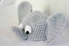 Crocheted baby elephant beanie hat 0-3 month newborn shower gift infant head covering warm winter costume african zoo animal pachyderm. $30.00, via Etsy.